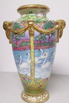 Nippon White Swans Vase – Tall, Excellent Condition Hand Painted Porcelain Gold