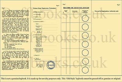 New 'old style' buff green logbook like reproduction tax disc