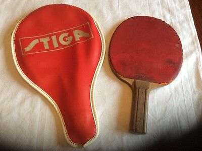 A Vintage Stiga Table Tennis bat and cover