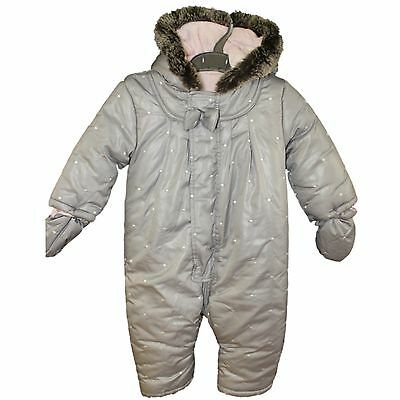 Girl Toddler 12-18 Months Silver Grey Padded Soft Fur Lined Pramsuit Snowsuit