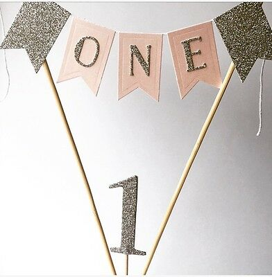 Girls 1st Birthday Cake Topper Cake Bunting Baby Girl Is One Pink And Silver 1st