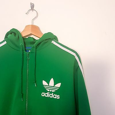 vintage - Adidas originals - green - jacket - track top - hoody - 1990s - medium