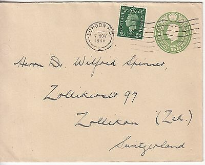 GB: GVI ½d Embossed Cover & ½d stamp; London to Zollikan, Switzerland, 7 No 1949
