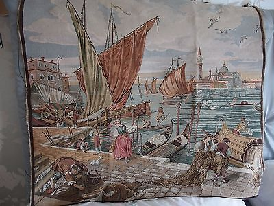 Vintage woven Italian tapestry wall hanging or picture