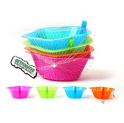 4 x Plastic Sippy Bowls With Straw Stars Shape Design Kids Assorted Colors