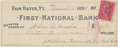 First National Bank, Fair Haven, Vermont  1899  W/revenue