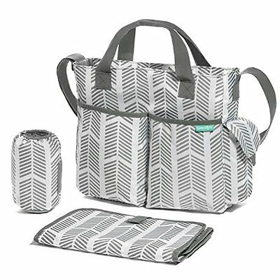 Diaper Bag Tote Baby Stroller Organizer Adjustable Strap 8 Pockets Changing Pad