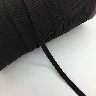 """5yds 1/4"""" 6mm Black Thickening Satin Elastic Band Trim Sewing Spandex Lace"""