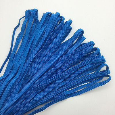 """5yds 1/4"""" 6mm Blue Thickening Satin Elastic Band Trim Sewing Spandex Lace #02"""