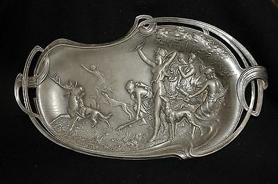 Antique WMF Tray/Wall Decor, Art Nouveau, Diana the Huntress