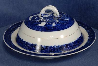 Flow Blue Willow Pattern Muffin Dish a/f