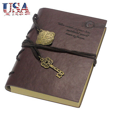 New Vintage Magic Key String Retro Leather Note Book Journal Diary Notebook