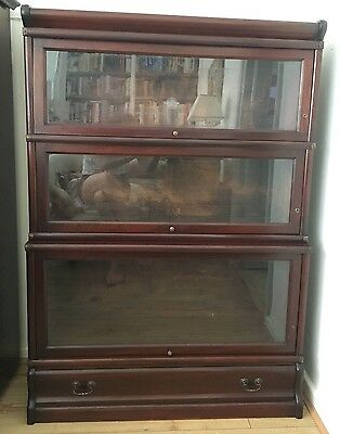 1920's mahogany 3 stack Globe and wernicke barristers bookcase with draw + glass