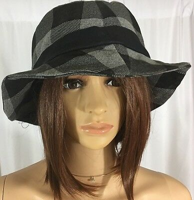 Women Winter Scottish Plaid Ribbon Bow Crushable Bucket Hat Cap Black Gray Wool