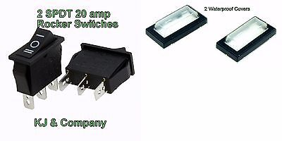 2x SPDT 20 amp Maintained 3PIN  Rocker Switch with waterproof cover US SELLER