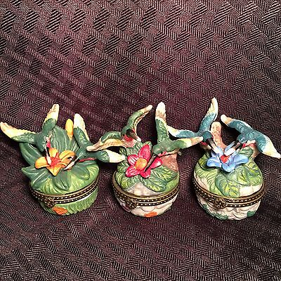 3 Hummingbird Hinged Trinket Boxes
