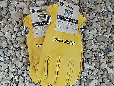 Town & Country Mens Deluxe Soft Leather Garden Gloves Large 9-10 x 2 Tan