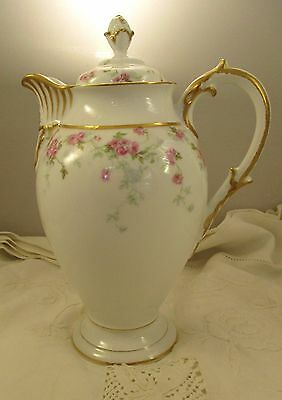 Antique Limoges L. Bernard D&C France China Coffee Server Pink Flowers on White