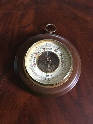 "Vintage Barometer Made In Germany By Jason 6"" W Wood Brass Glass"