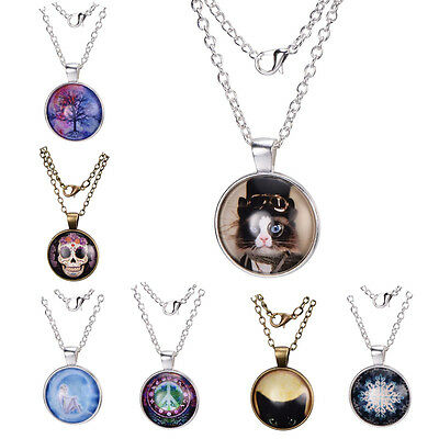 Flat Round Glass 25mm Pendant Necklaces with Alloy 50mm Chains Choice of Pattern