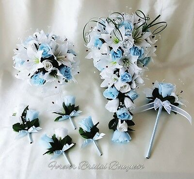 Artificial silk wedding flowers baby blue and white teardrop bouquet bridesmaid