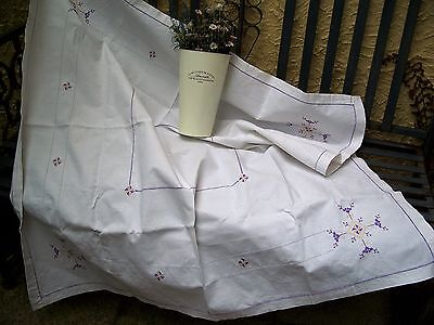 Art Deco Style vintage embroidered Ladder work Irish Linen tablecloth