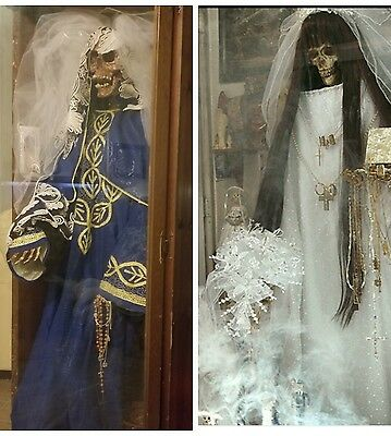LIFE SIZE , Santa Muerte inside a wood and glass case 6 feet tall ,holy death