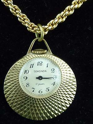 A nice Vintage 1970's  Sekonda 17 Jewel Mechanical Wind up Pendant Watch