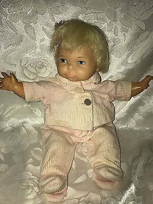 """Vintage Ideal Thumbelina Newborn Doll Nice Hair Original Pink Outfit 10""""  As Is"""
