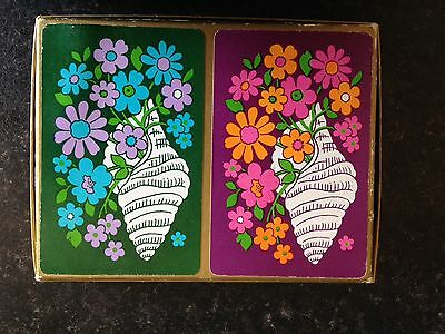 Vintage Playing Cards 2 Pack Bridge Set. Late 1960s/ early 70s Flower Power