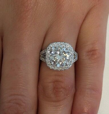 4.50 Ct Round Cut F/vs1 Halo Diamond Solitaire Engagement Ring 14K White Gold