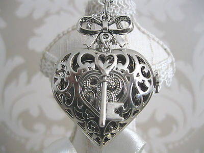 """New """"KEY TO MY HEART"""" Silver Steampunk Heart Pocket Watch Necklace Pendant Gift"""