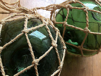 Vintage Spanish Glass Ball Fishing Float with String Wrap - set of 2