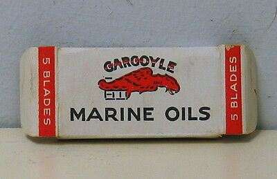 Gargoyle Marine Oils outer package and 5 wrapped razor blades