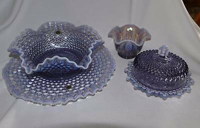 Westmoreland American Hobnail Lilac Purple Large Bowl Torte Plate Butter
