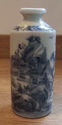 Good Late 18Th / Early 19Th Century Chinese Blue & White Porcelain Snuff Bottle