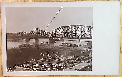 DL655 Steel Railway Bridge Pierre South Dakota SD RPPC Real Photo Vintage PC