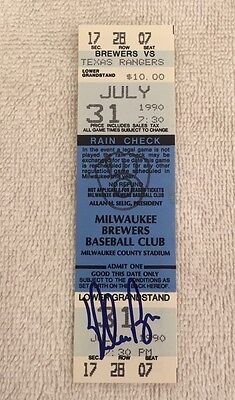 Nolan Ryan Texas Rangers Signed 300 Win Full Unused Ticket