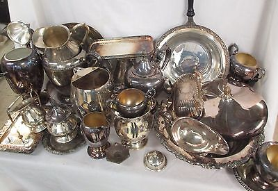 20+ Scrap Lot Of Silverplate Silver Plate Items Mixed 27 Pounds! (AD)