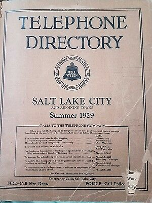 Vintage 1929 ,SALT LAKE CITY & ADJOINING TOWNS Bell  Directory,Telephone Book