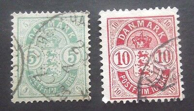 Denmark-1882-5 Ore Green & 10 Ore Red issues-Used