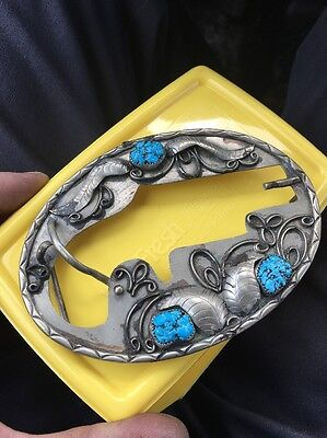 Vintage Old Pawn Navajo Turquoise Belt Buckle Derringer Gun Holder Rare Silver