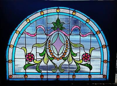 Victorian Arch Top Jeweled Stained Glass Window