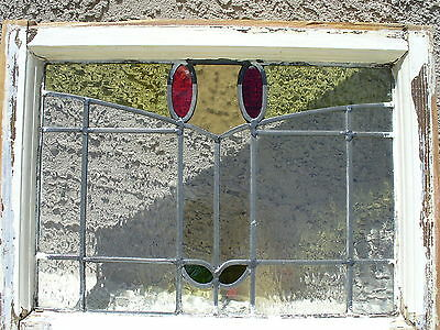 Antique stained glass leaded window original 20 3/4 by 16 inches NR