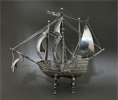 Highly Collectable Marked Spanish Sterling Silver Sailing Ship Model Figure