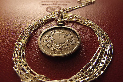 "pre 1912 Guatemalan Reale Crossed Muskets Coin Pendant  28"" .925 Silver Chain"
