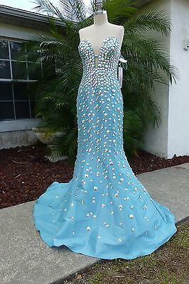 Auth. JOVANI Dress 944 Aqua Prom Pageant Homecoming Bling Sz 10 New w/ Tags $640
