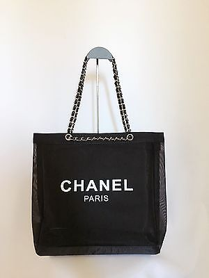 CHANEL VIP Gift Mesh Tote Bag Black Leather Sliver Chain 0625-5 Brand New