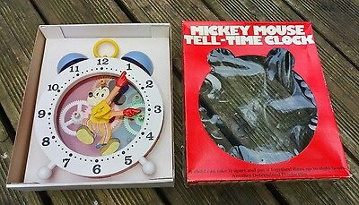 vintage mickey mouse tell time mechanical clock (boxed/complete/working)