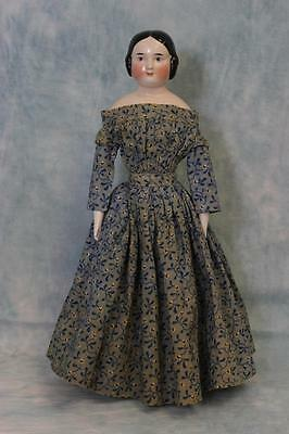 """17"""" Antique Pink Tinted China Head Doll by Kister Germany C 1860 Antique Dress"""